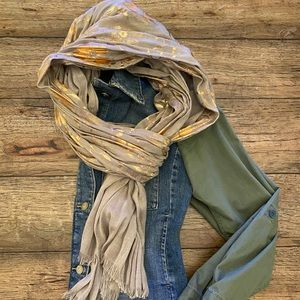 Anthropologie Tan/Rose Gold Floral Scarf